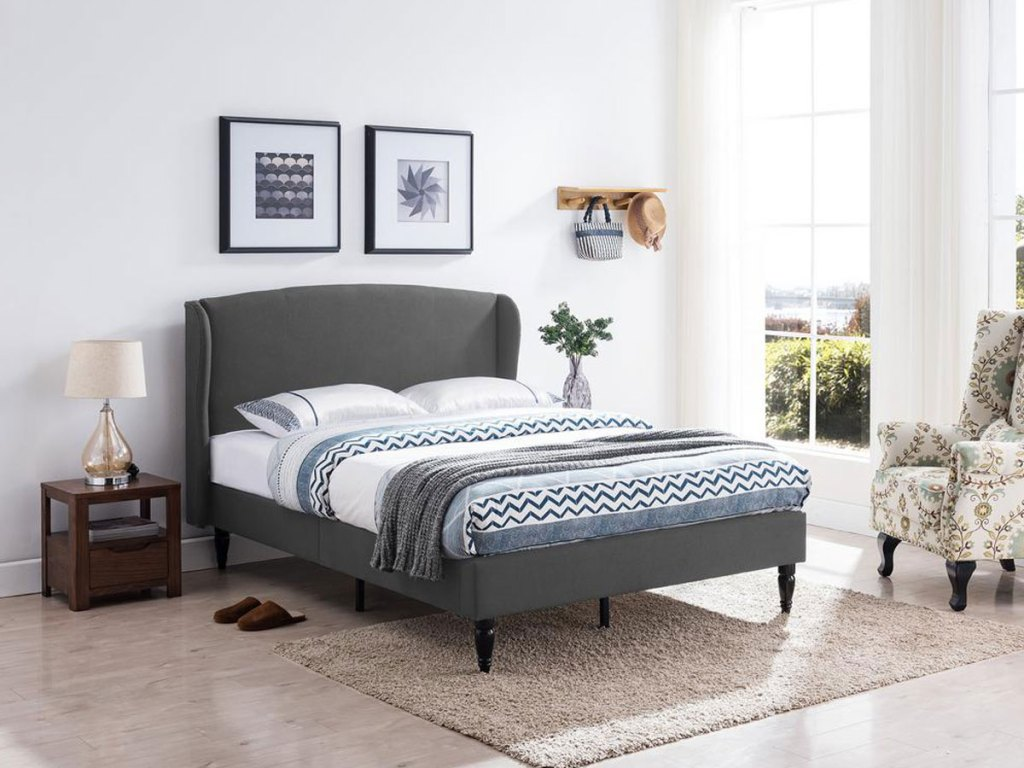Westbury Traditional Queen-Size Charcoal Gray Fully Upholstered Wingback Bed Frame