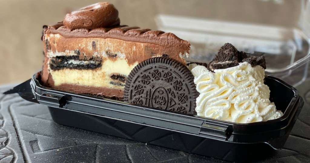The Cheesecake Factory OREO cheesecake slice in container