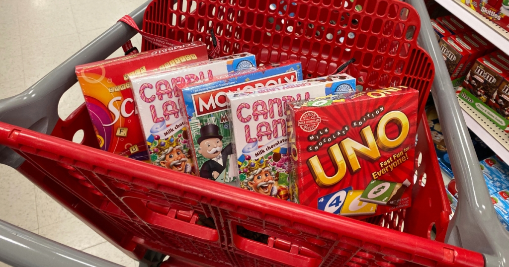 chocolate games in shopping cart at Target
