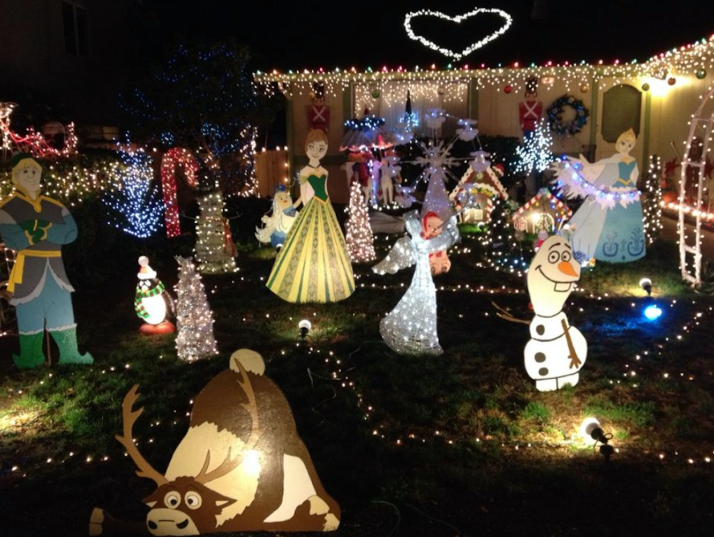 yard full of Christmas lights for frugal christmas traditions idea