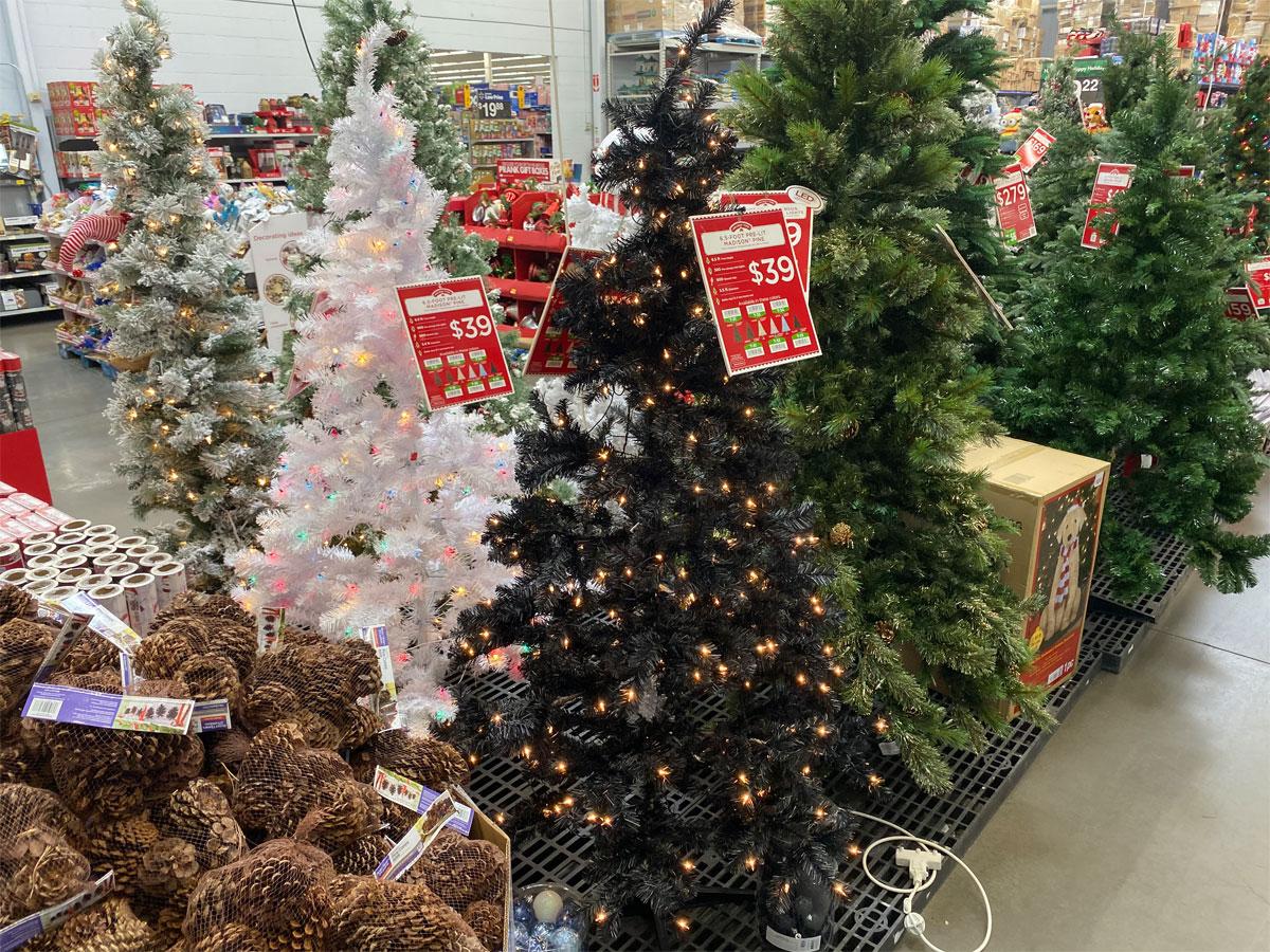 Pre lit Madison Christmas Trees in Walmart