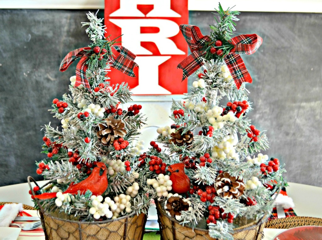 christmas trees from Dollar Tree flocked and embellished