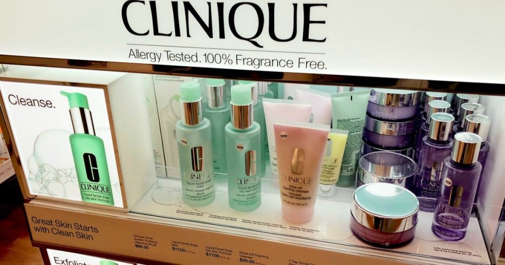 clinique makeup and skincare items on display in store
