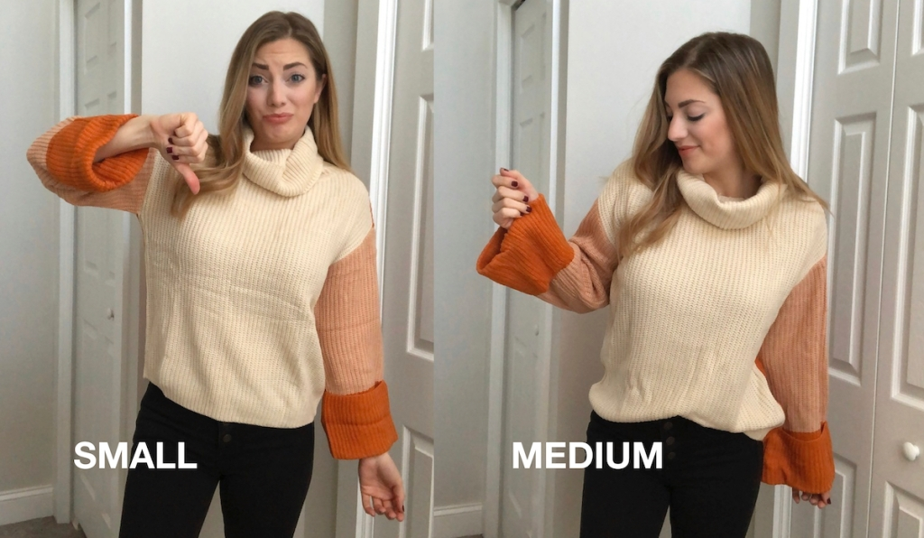 woman wearing a small and medium sweater comparison