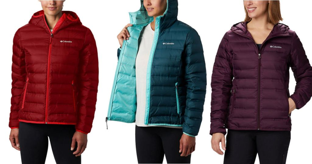 women wearing red, blue, and plum columbia Women's Lake 22 Down Hooded Jacket