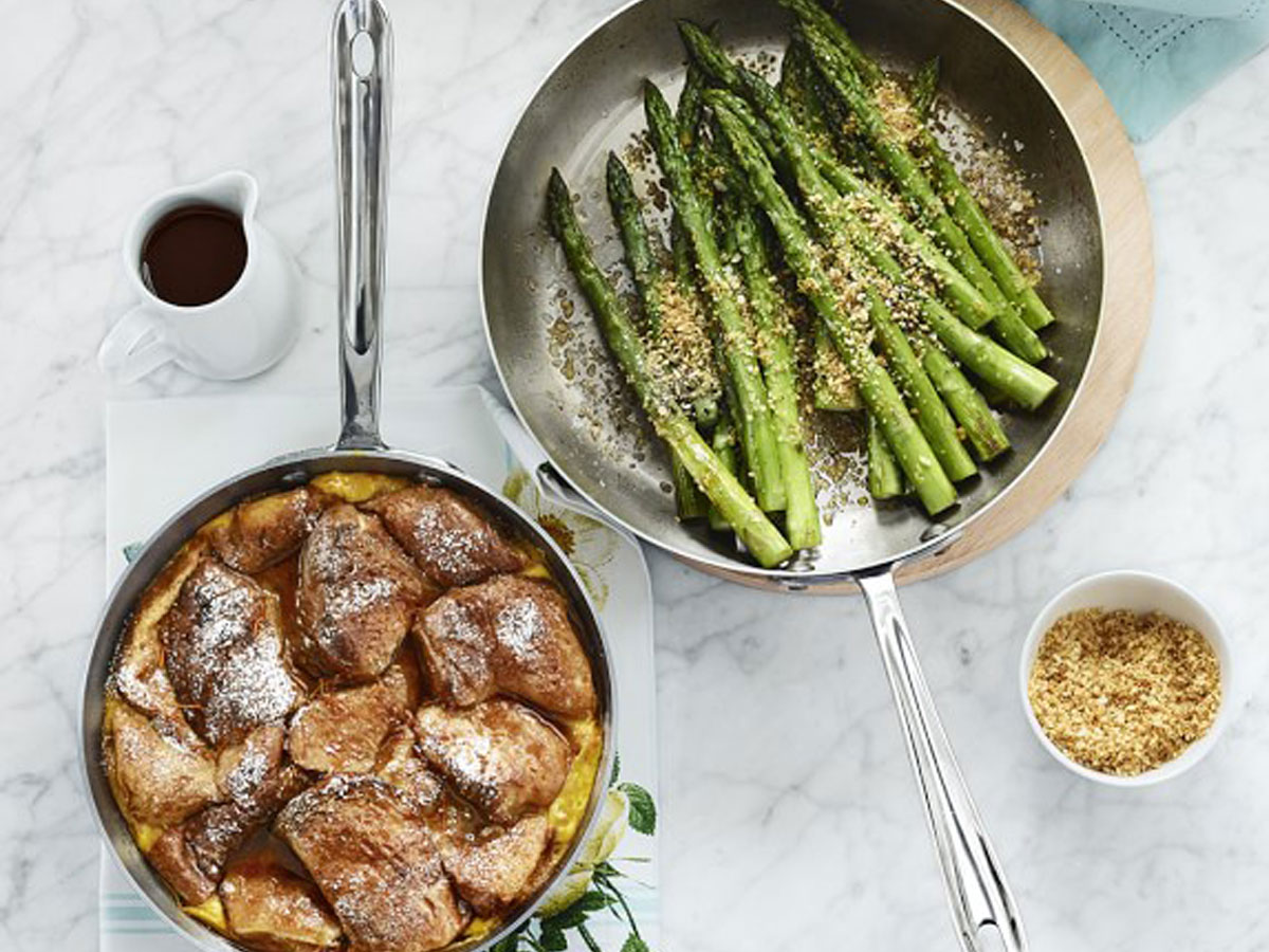 williams sonoma cookware 2 pans with food in them