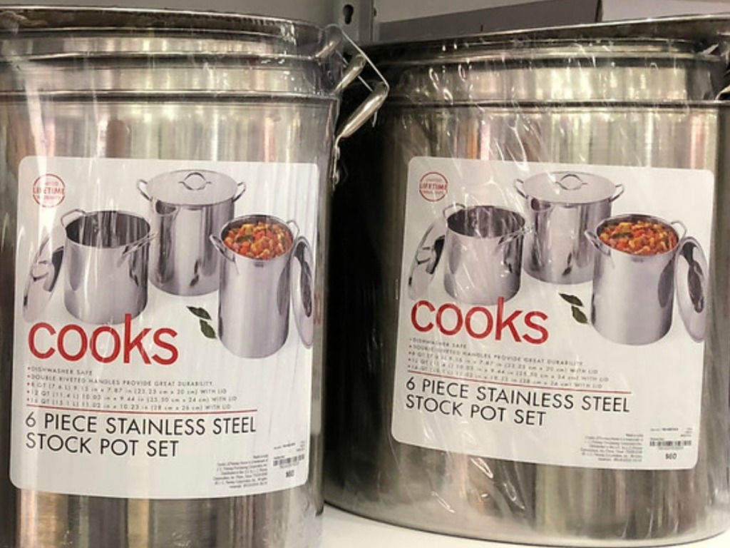 stainless steel pots on store shelf