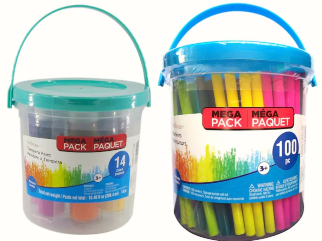 Creatology kids craft bucket of tempera paint and markers