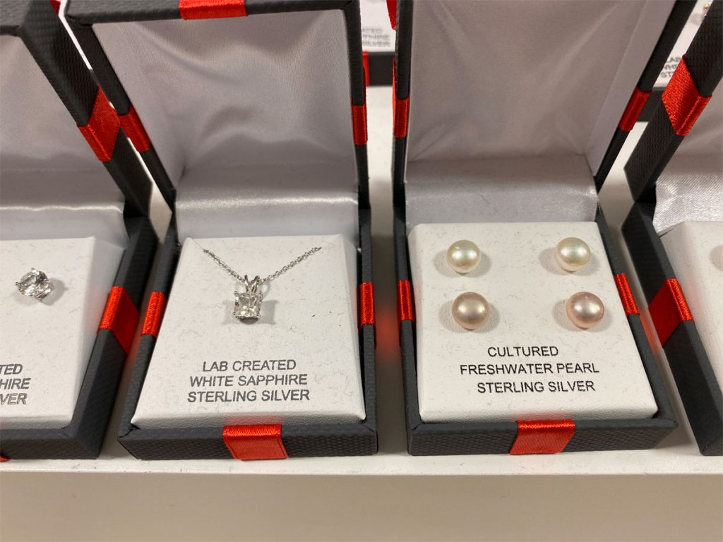 JCPenney Jewelry boxes with necklace and earrings