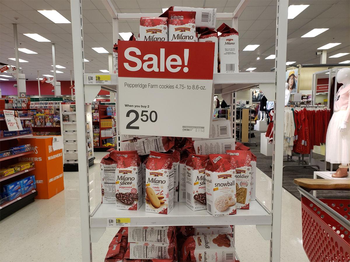 Milano cookies on display at Target
