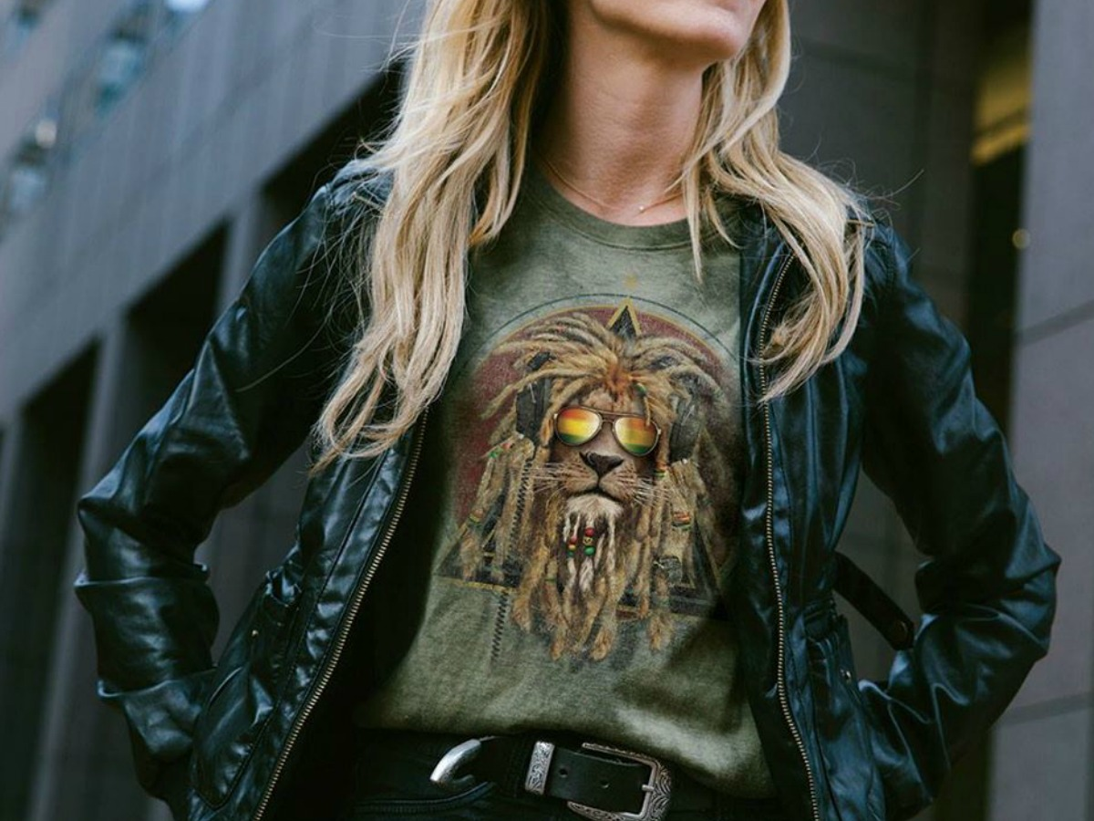 woman in jacket and tee shirt