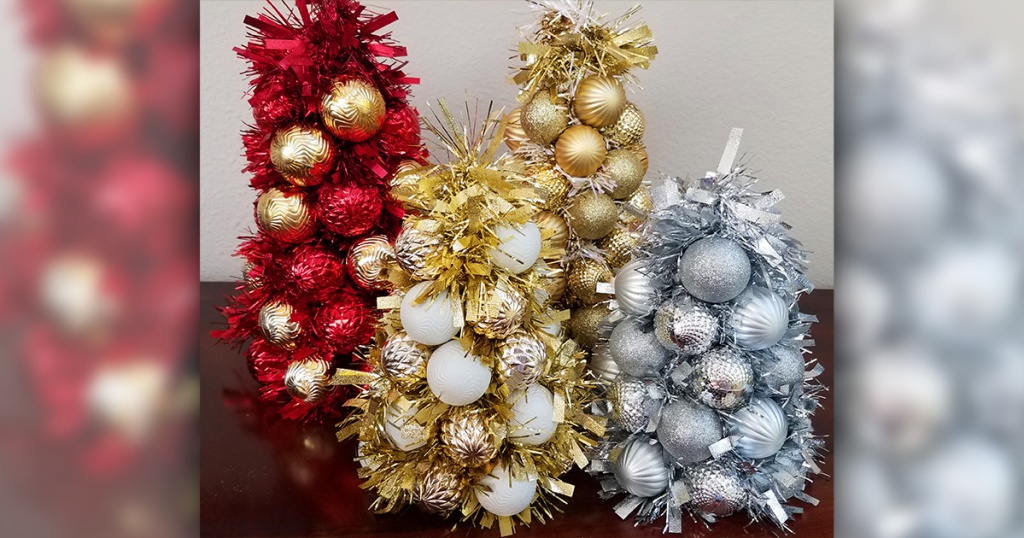 Red, gold, and silver ornament centerpieces