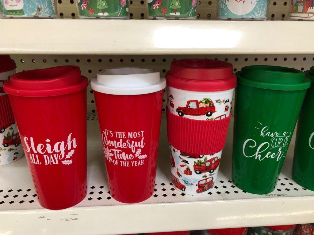 Christmas Printed Plastic Travel Mugs