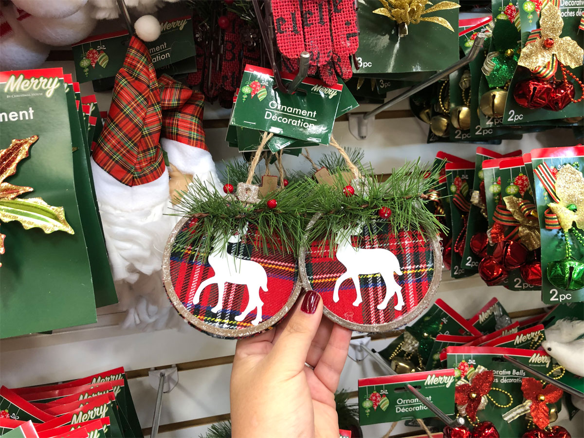 Christmas ornaments with reindeer and plaid backgrounds