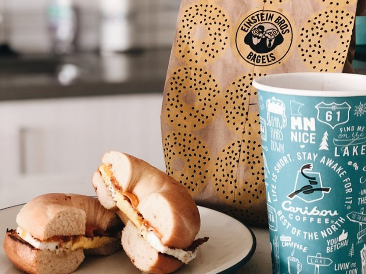takeout bag, coffee cup and bagel