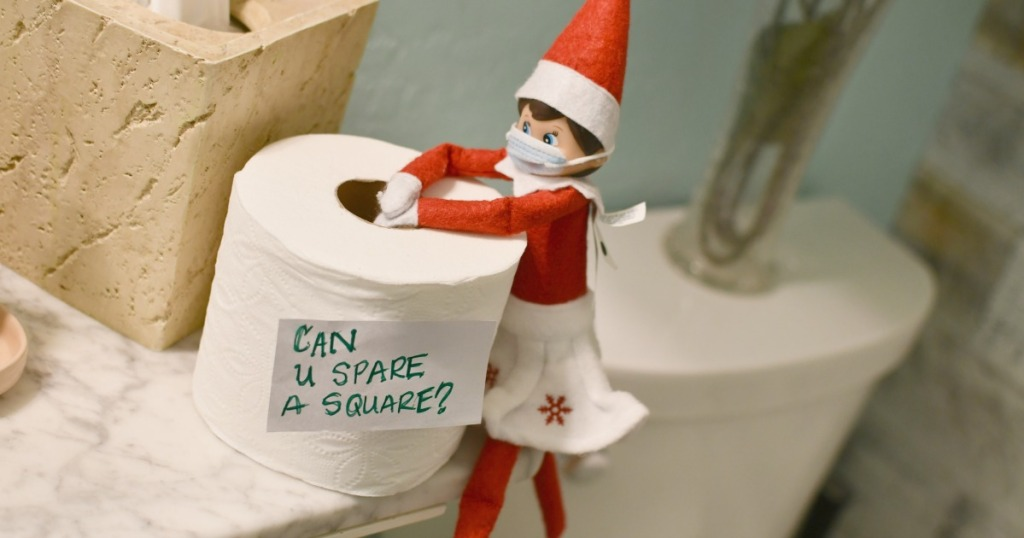 elf on the shelf with toilet paper covid idea