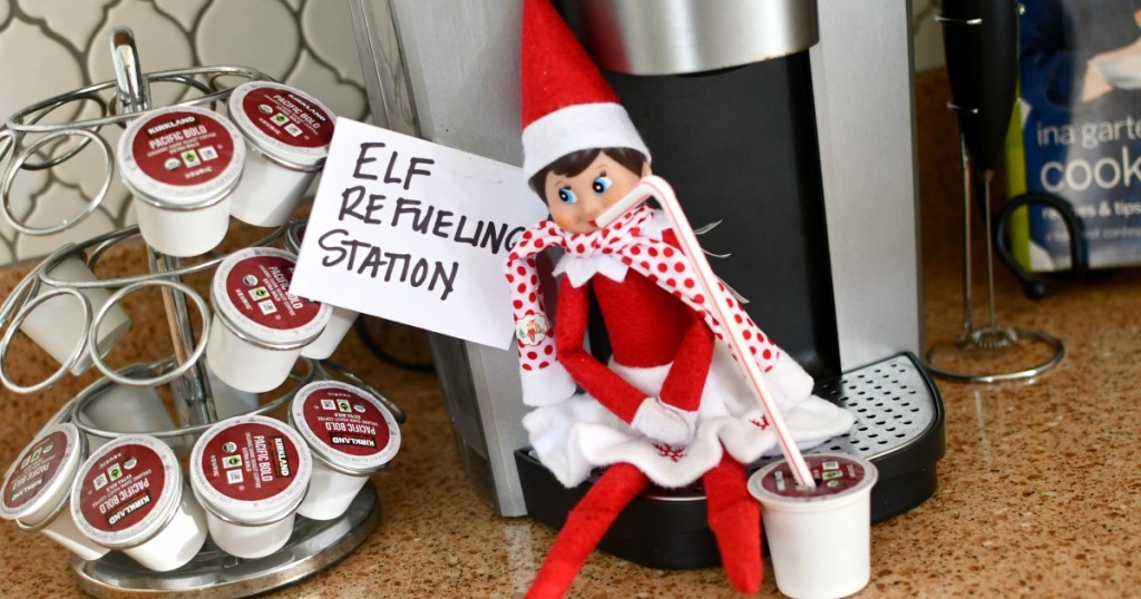 elf refueling station with coffee