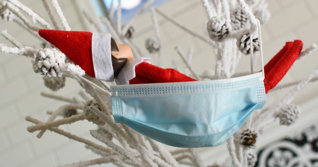 facemask as a hammock elf on the shelf