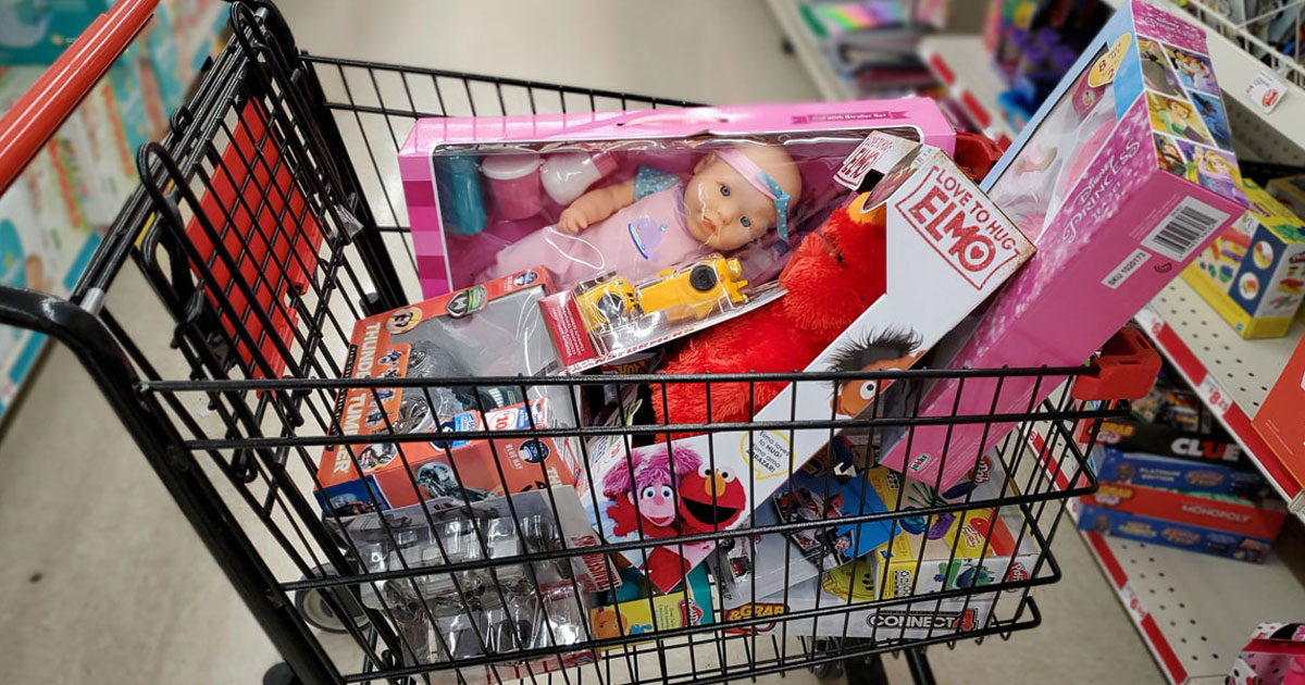 cart full of toys, doll, ELMO and more