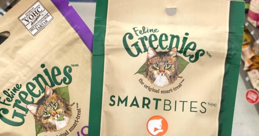 bags of cat treats near store display