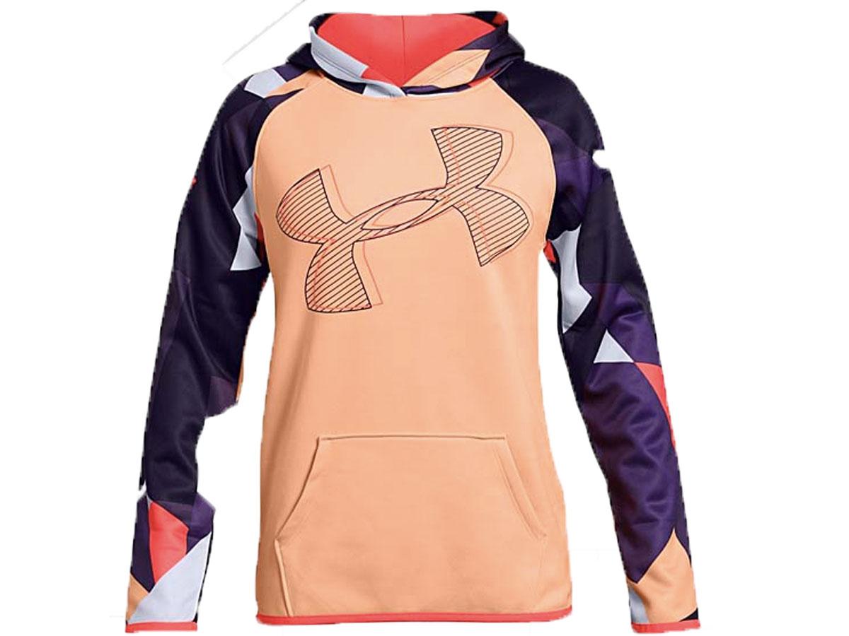 Under Armour Girl's Peach Horizon Color Block Armour Fleece Hoodie