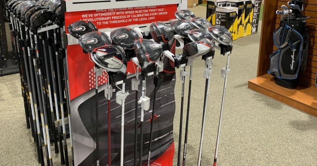 golf clubs on display in store