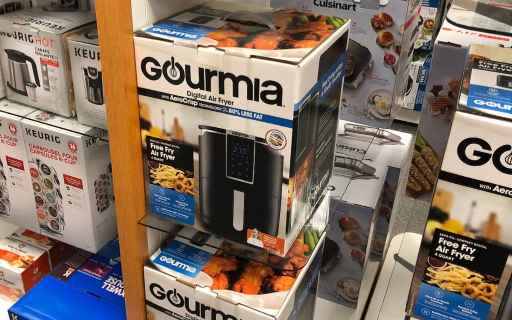 box of gourmia air fryer sitting on store shelf