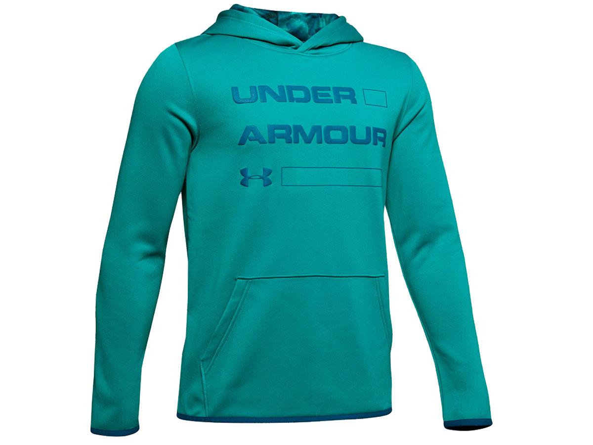 Under Armour Boy's Kinetic Purple Armour Fleece Wordmark Hoodie