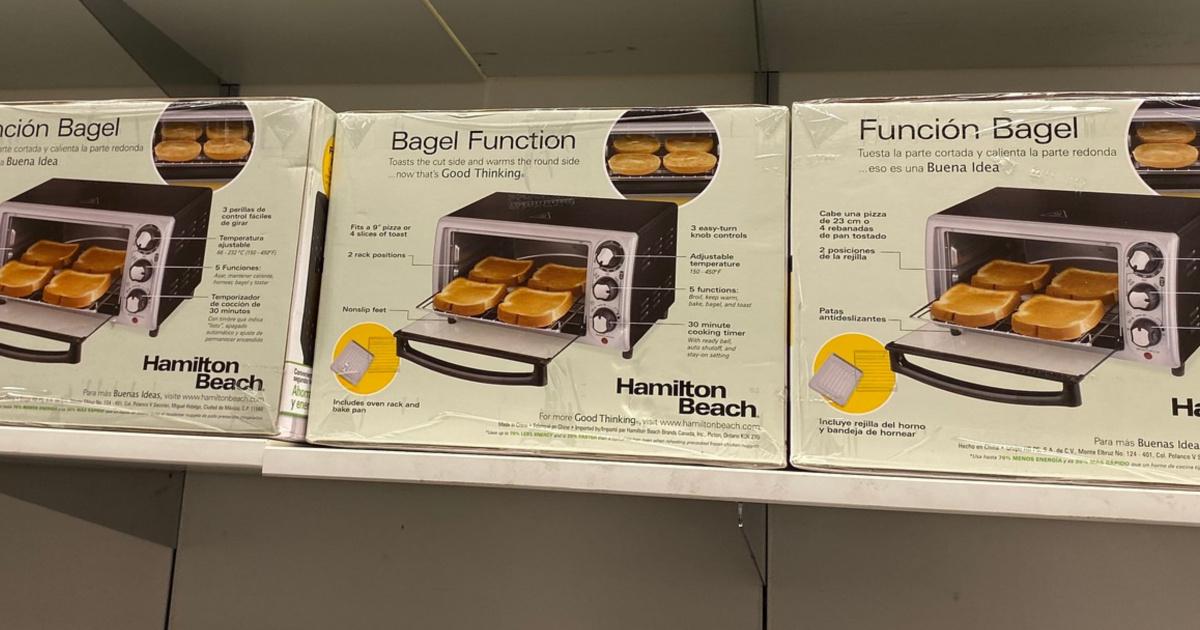 Hamilton Beach 4 Slice Toaster Oven on shelf