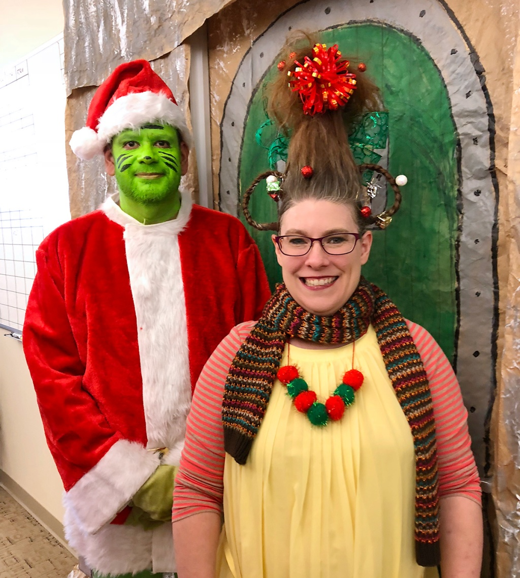 Hip2Save reader dressed as Cindy Lou Who and Grinch