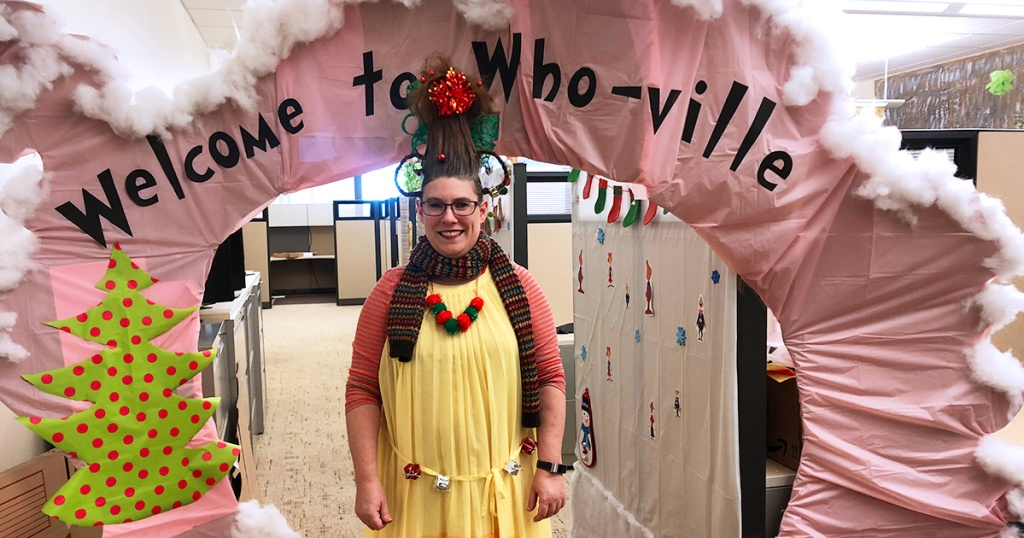 Office decorated with Whoville theme with reader as Cindy Lou Who