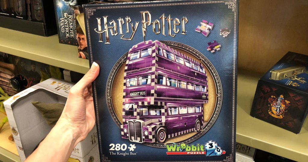 hand holding Harry Potter the knight bus wrebbit 3d puzzle