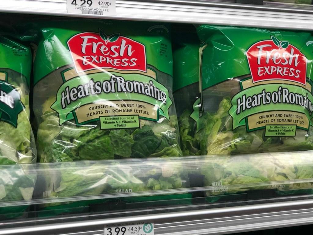 lettuce in bags on store shelf