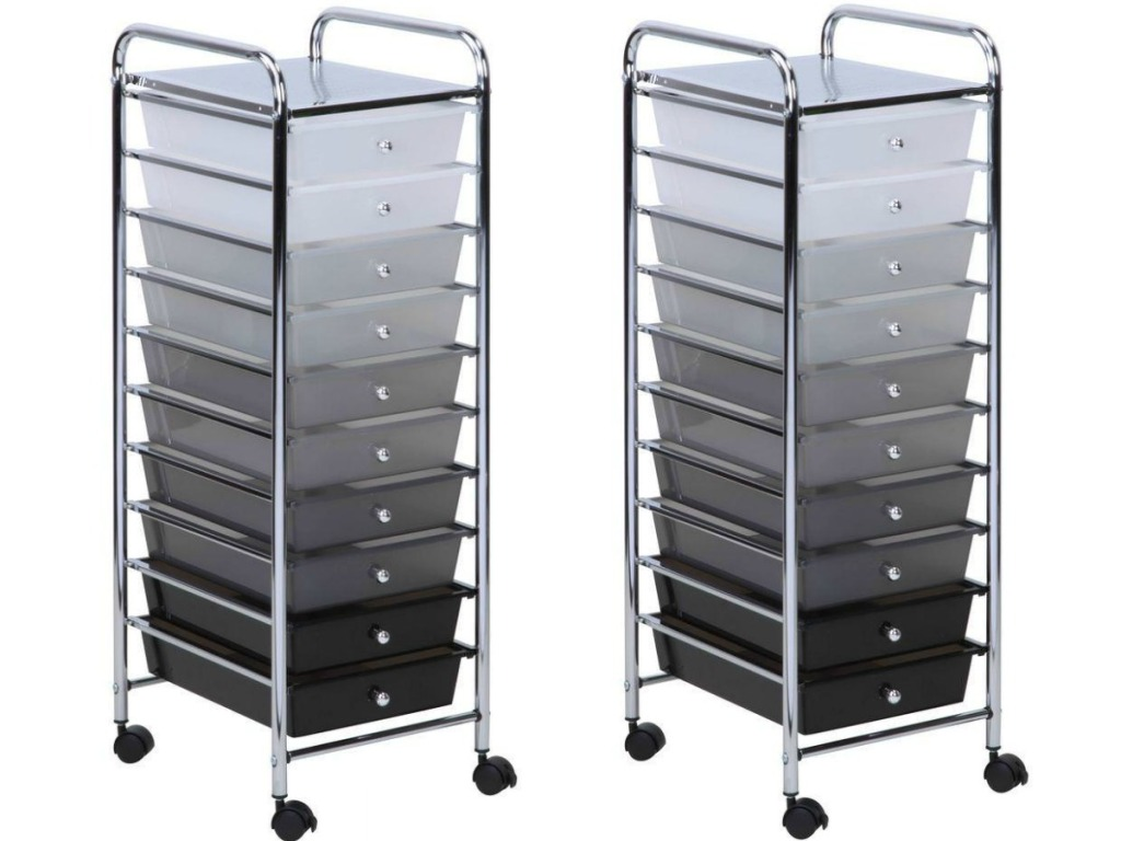 2 rolling carts with drawers