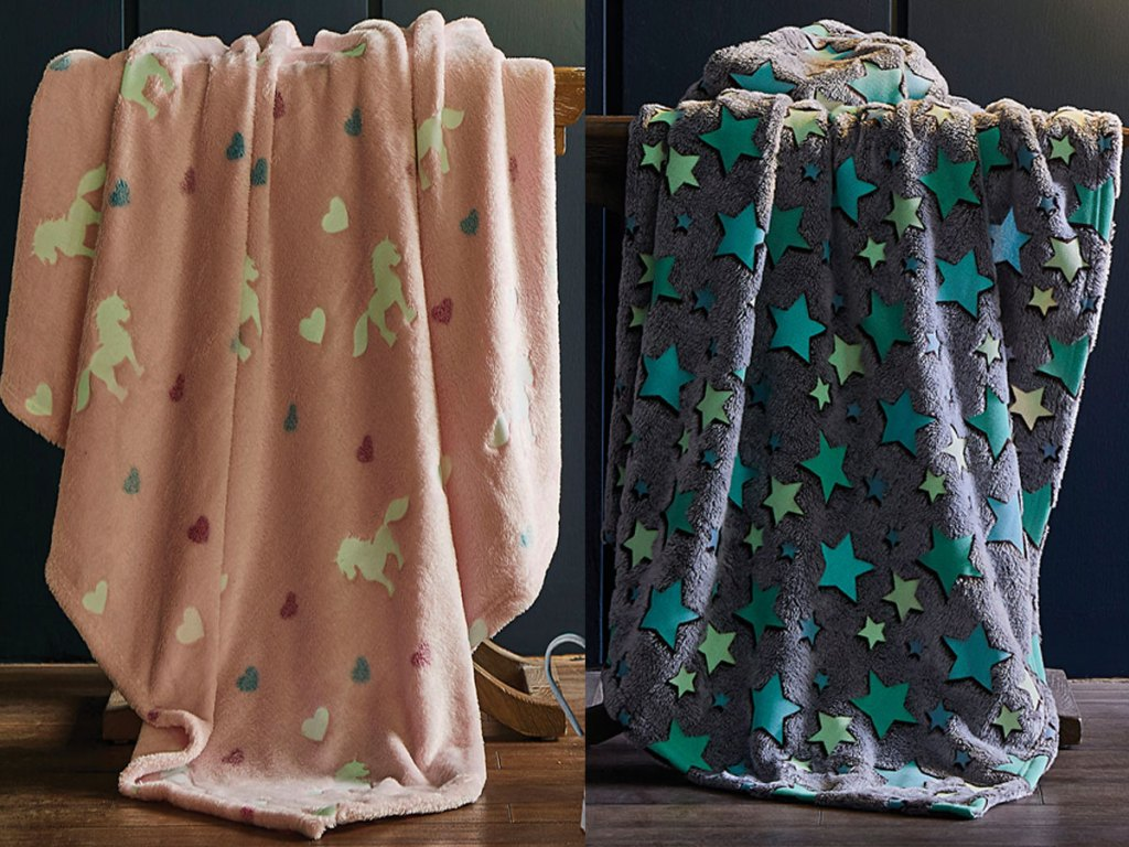 horse and starry glow in the dark throws