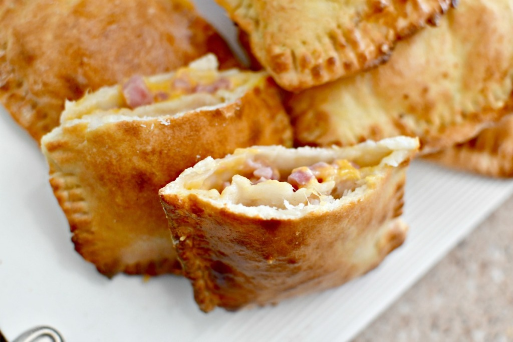 ham and cheese hot pocket cut in half
