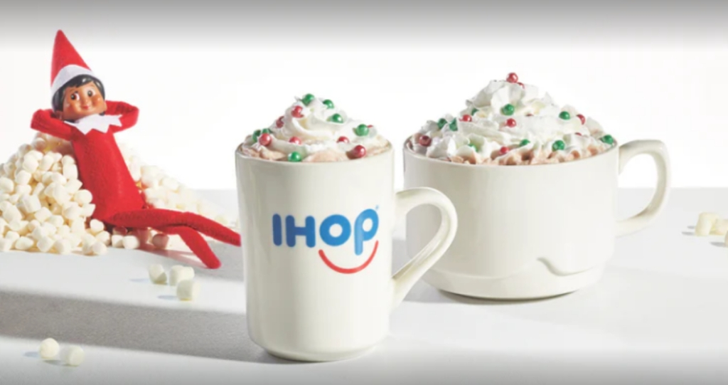 The Elf on the Shelf with IHOP hot chocolate