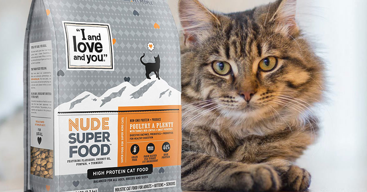 cat with a bag of I and love and you nude super food