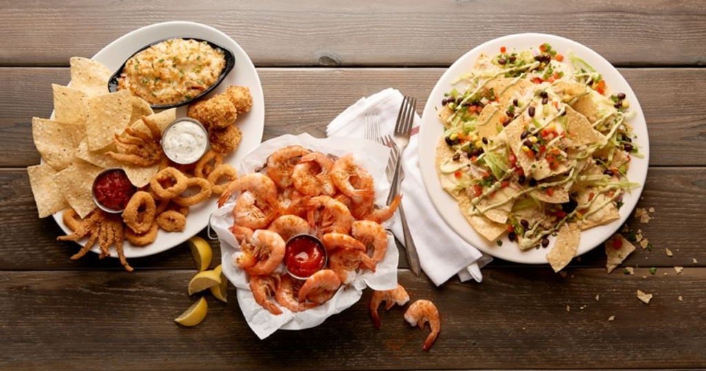3 seafood plates from Joe's Crab Shack