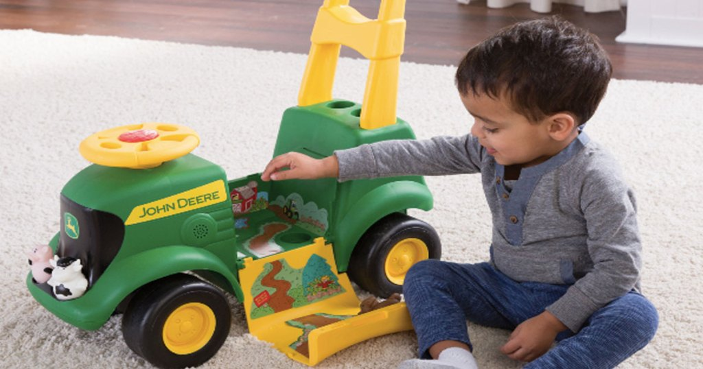 John Deere Sit 'N Scoot Tractor, 3-in-1 Ride on Tractor + Farm Animal Toys & Handle
