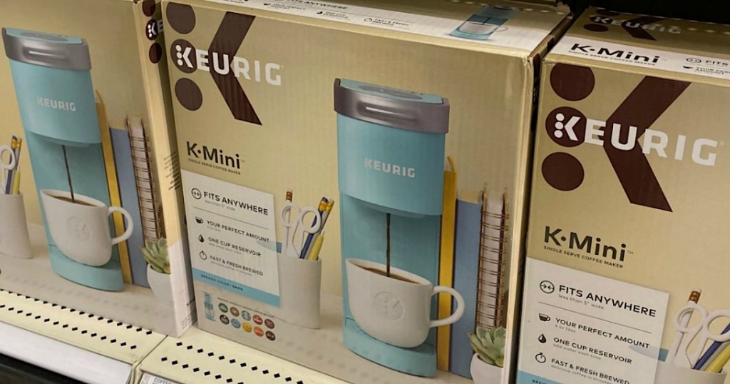 shelf view of Keurig K-Mini Single Serve Coffee Maker in blue