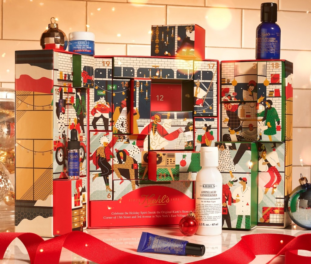 kiehls advent calendar with various beauty products on display