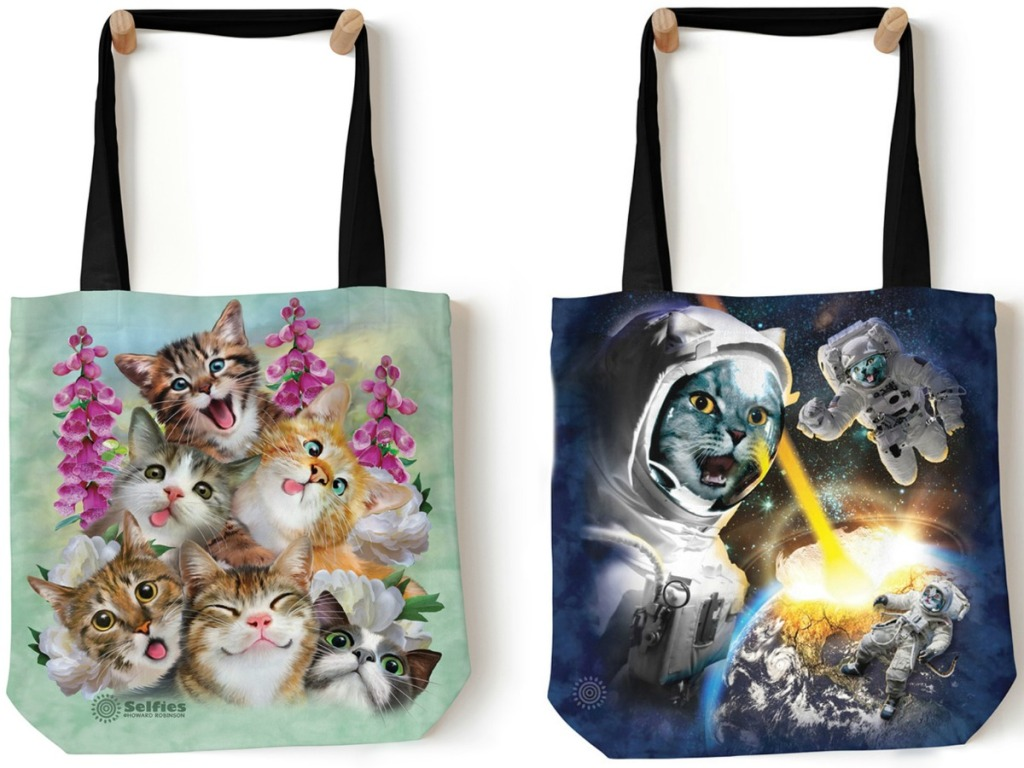 tote bags with cat pictures on them