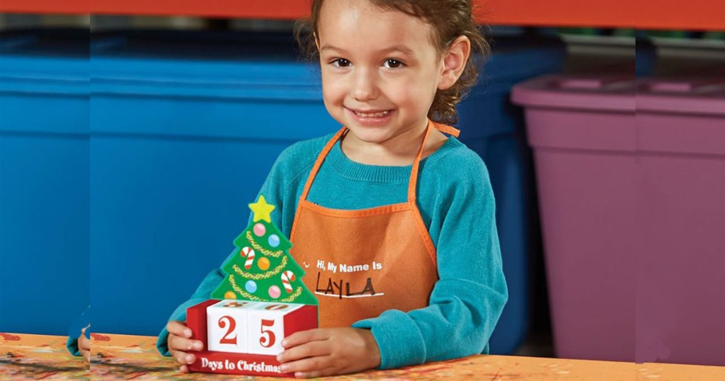 the home depot little girl building a countdown to christmas