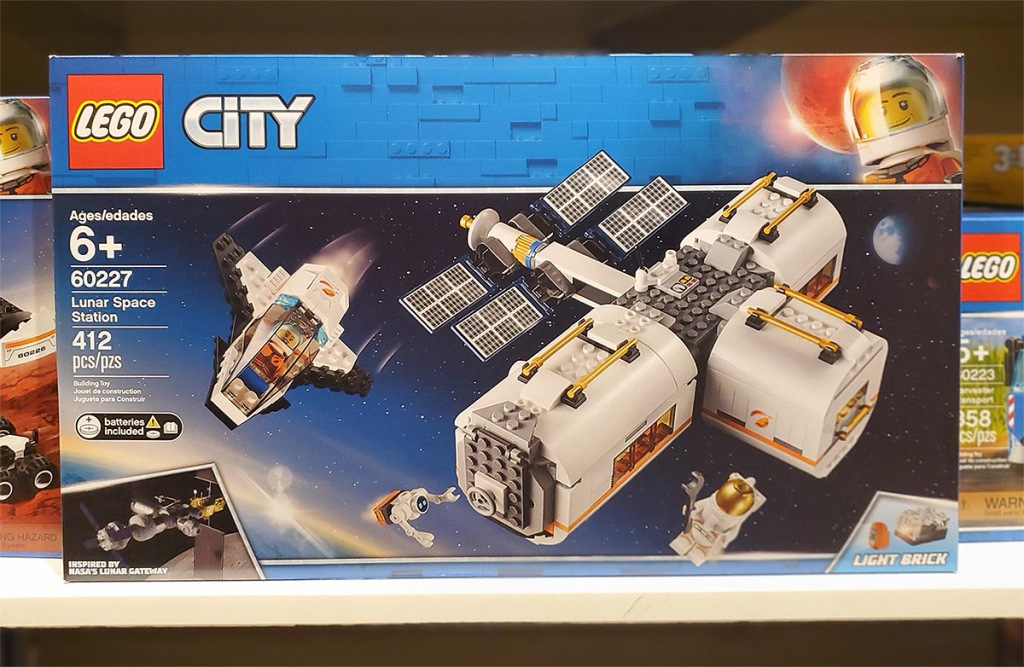 lego lunar space station on shelf