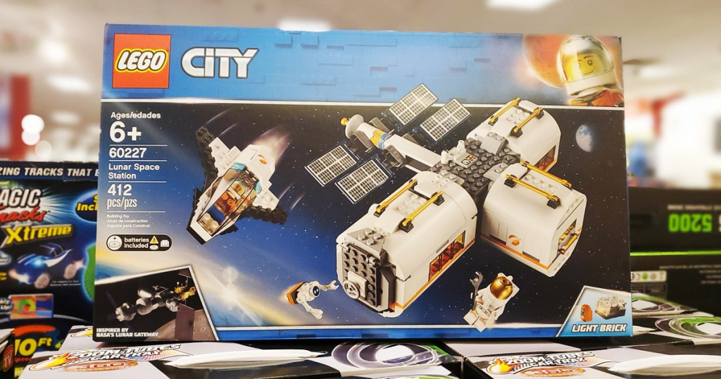 lego lunar space station on shelf in store