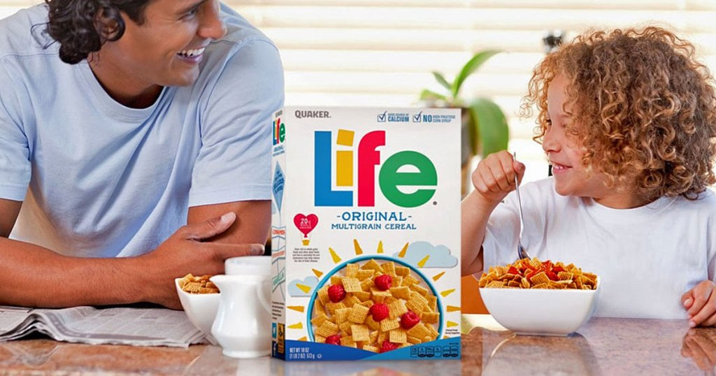 people by box of Life cereal
