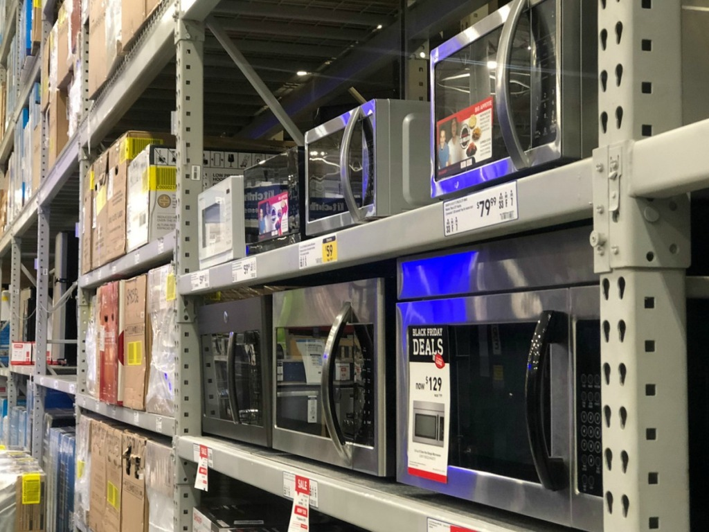 microwaves on store shelf