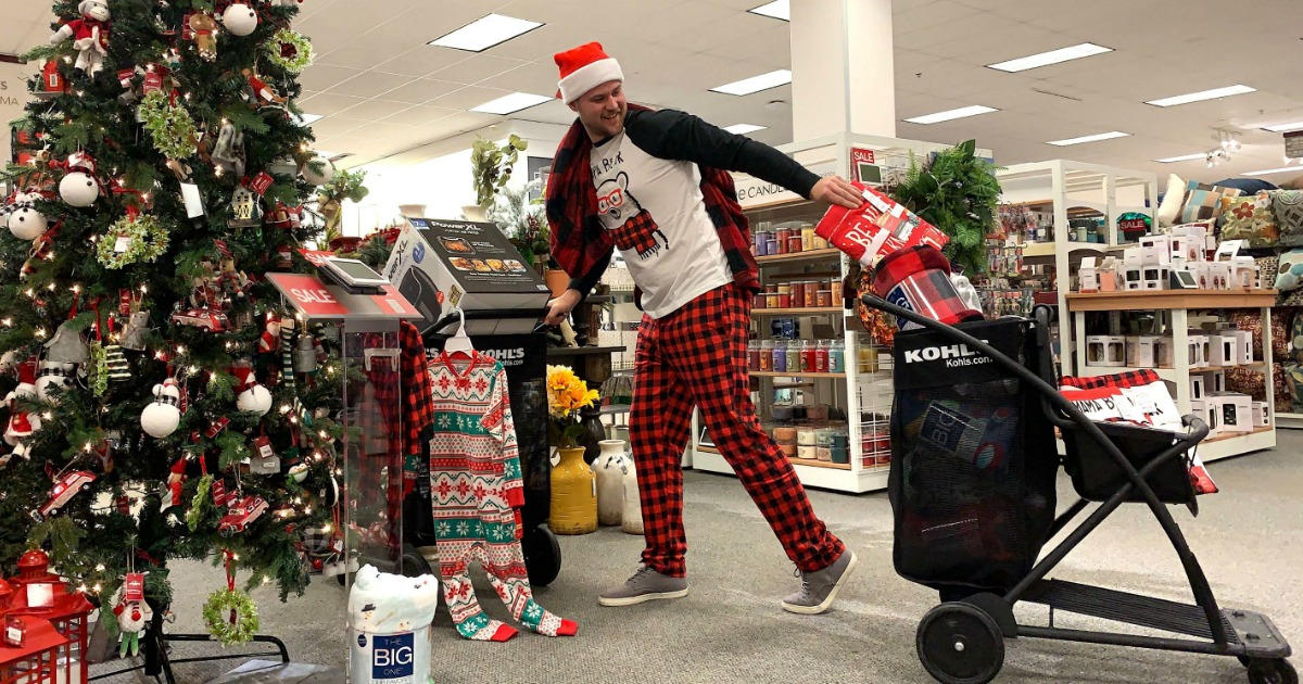 man at kohl's in Christmas jammies