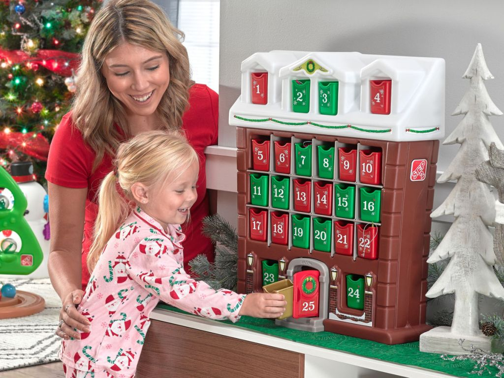 mom and daughter with step2 my first advent calendar